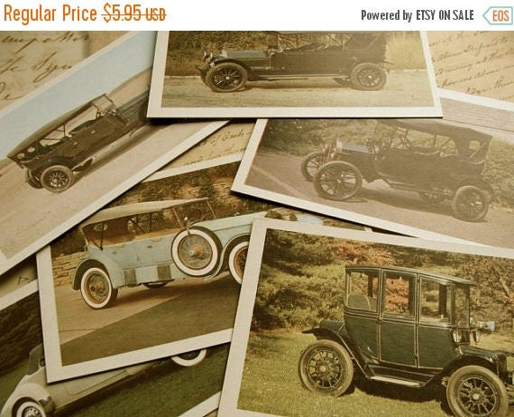ON SALE Road Trip One Dozen Antique Automobile Flash Cards Journey 50 YR Old Cards
