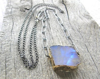 Summer Sale 20% Off Extra Long Rough Cut Moonstone Slab Necklace, Large Link Sterling Silver Chain and Stone Specimen Necklace