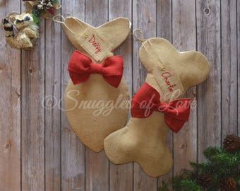 Burlap Pet Stockings - Personalized Burlap Dog and Cat Stockings - Burlap Dog Bone Stocking - Burlap Fish Stocking for Cats - Red Burlap Bow
