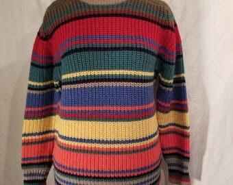 Colorful striped 90s vintage wool sweater,  ladies large, Lands End, 44