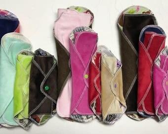 Try 4 MamaBear LadyWear Quick-Dry cloth menstrual pads - COTTON VELOUR - Heavy, Medium, Light Flow & Dailywear