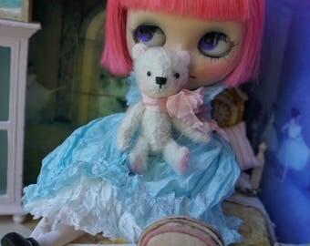 "Miniature 3"" Bear - Artist Teddy Bear White German Mohair Stuffie Collectible for Blythe Doll"