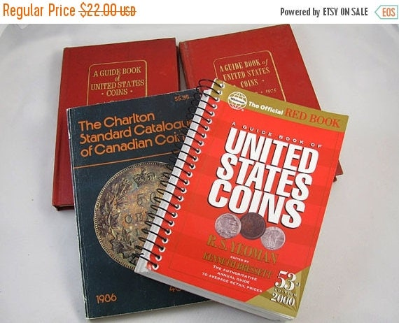 Christmas in July Sale Become a coin expert! Set of 4 hardcover and soft cover reference books / Red Book United States Coins RS Yeoman / Ch