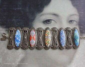 Bracelet Bangle Portugal Tiles Azulejos Antique 16th Century Blue   Tomar -  Bohemian Majolica