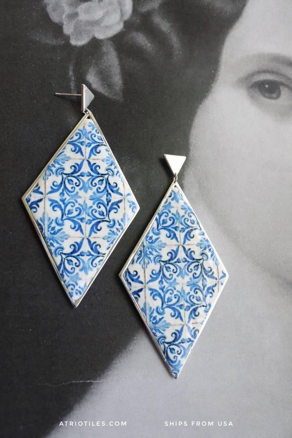 Portugal Tile Earrings SILVER PLATED  Antique Azulejo Portuguese Geometric - Church of Mercy PoRTO 1590 - GORJANA Frames
