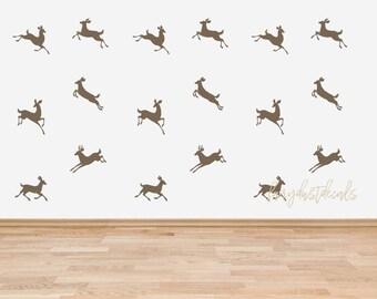 Deer wall decal, woodland nursery, vinyl wall decal, animal decal, deer wall sticker, deer wall art, set of prancing deer decals, rustic art