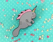Unicorn pin, Maneecorn enamel pin, manatee pin, manatee unicorn pin, charity pin, HibouDesigns