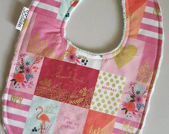 Baby Bib - Floral Flamingo on Mint Green Minky, Metallic Gold, Mint Green, Hot Pink and Coral Baby Girl Bib