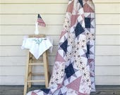 America's Stars, Extra Large Throw, made from an old quilt top, americana red white and blue, READY TO SHIP, Rescued quilt