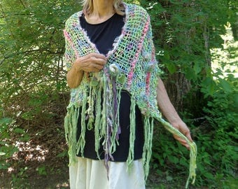 hand knit art yarn wool silk cotton enchanted forest summer faerie scarf wrap - summertime song