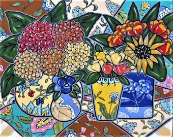 "Original acrylic still life painting, French Country art canvas, 30"" x 24"", turquoise, brown, hydrangeas, tulips, pansies, sunflower art,"