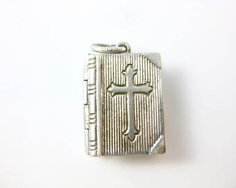 Vintage Sterling Silver Holy Bible Lord's Prayer Charm