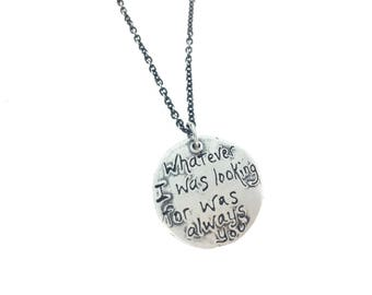 romantic rumi quote necklace . inspirational quote necklace . sterling silver necklace by peaces of indigo . ready to ship