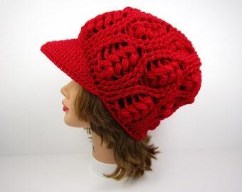 Crochet Newsboy Hat - Red Hat With Brim - Brimmed Beanie - Women's Cap - Visor Hat - Puff Stitch Cap - Women's Hats