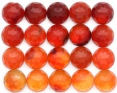 10mm Carnelian Cabochon Rose Cut ONE | 10mm Round Rose Cut Carnelian Cabochons | Micro Faceted Cabochons | Orange Carnelian Cabochons