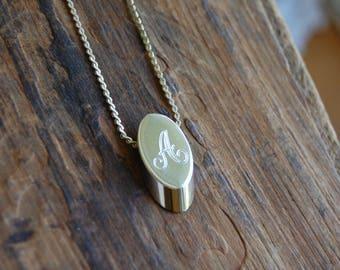 "Vintage Gold ""A"" Initial Necklace   Monogram Jewelry   Personalized Necklace   Letter A Necklace Pendant   Antique Charm Necklace  "