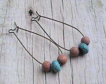 diffuser bead earrings. natural rosewood diffuser earrings. diffuser jewelry. gemstone earrings. organic jewelry.