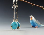 Kingman Turquoise Earrings, Long Dangle Earrings, Sterling Silver, 14kt Gold, Handmade