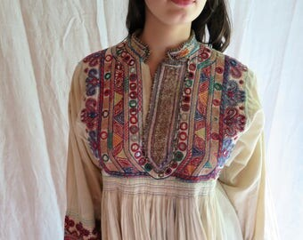 Antique Rabari Dress from India Mirror, Cotton and Metallic Hand Embroidery Ethic Clothing Circa Early 1900's Size S/M
