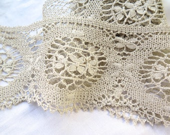 """Antique Cluny Lace Trim in Natural Linen Handmade 60"""" Long x 4.75"""" Wide"""