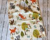 Toddler Pocket Bib | Classic Woodland Critters | Like a dishtowel bib only better!