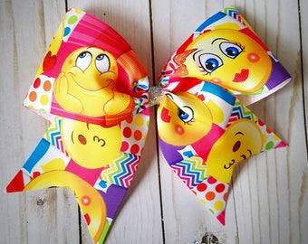 Emoji Cheer Bow/ Big Bow/ Hair Bow/ Large bow/ Pony o/ Hair clip/ Girls bows