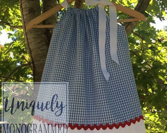 Dorthy Dress Wizard of Oz Dress Pillowcase Dress Blue Gingham Dress Oz Party Dorothy costume girls dresses baby dresses Halloween Costume