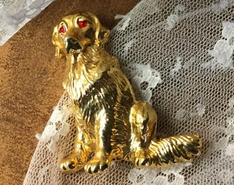 Noble Golden Retriever Gold Tone Ruby Red Rhinestone Eyes Brooch Pin Unsigned Figural Dog Animal Sitting Realistic Look For Dog Lovers