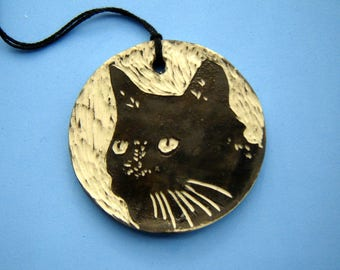 Black Cat Ornament – gift for cat lover - sgraffito pottery – home décor – gift tag – black and white – ceramic decoration