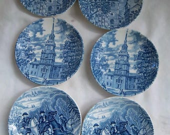 Vintage Liberty Blue Historical Colonial Scenes Coasters Set of Six Ceramic Vintage Home and Living Vintage Kitchen Vintage Colonial Decor