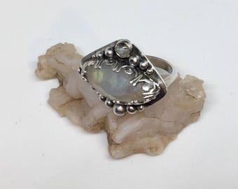 Lunar ring in sterling silver, moonstone and aquamarine
