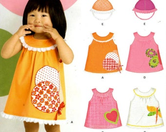 Sewing Pattern - New Look 6878 - Baby Girls Dress and Hat - Appliqued Dress - 4 Sizes - Newborn, Small, Medium, Large