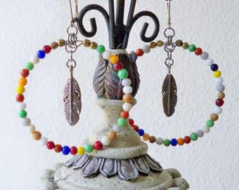 Multi color beaded hoop earrings - Feather charms - Statement pieces - Boho chic - Bohemian jewelry - bycat
