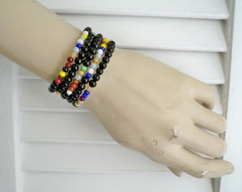 Black and Multi color Beaded Wrap Bracelet - Memory wire - Glass beads - Boho chic - Bohemian cuff - One size fits all - bycat