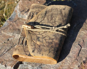 Leather Journal Medieval Wedding Guest Book With Lock And Branches Gift For Men