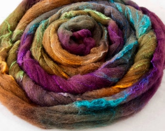 Hand dyed roving, Shetland, Tussah silk, Hand dyed roving, fibre, fiber, felt, spindling, felting materials, felting projects