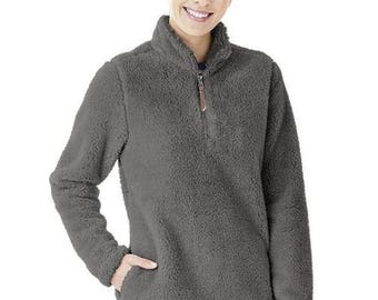 Charcoal Gray Sherpa 1/4 zip pullover Monogrammed Sherpa