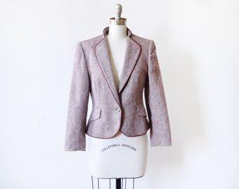 vintage 70s blazer, 1970s wool blazer, burgundy flecked tweed women's blazer, 80s cropped blazer, fitted blazer, small s