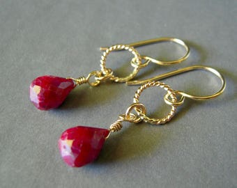 Natural Ruby Earrings, Gold Filled Small Earrings,  Red Earrings, Faceted Gemstones