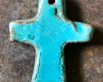 Rich Rustic Simple Chunky Handmade Turquoise Cross Pendant