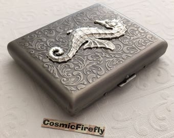 Large Size Antiqued Silver Cigarette Case Extra Big Metal Wallet Gothic Victorian Seahorse Steampunk Case Antiqued Silver Seahorse Case