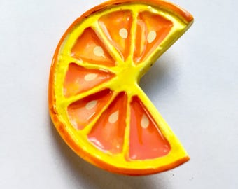 Vintage Plastic Acrylic Orange Slice Statement Pin Brooch Whimsical Kitsch