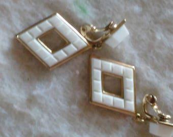 Vintage Monet Clip Earrings White Dangle Clip On Earrings carved like Costume earrings