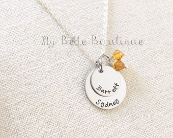 Personalized Hand Stamped Double Disc Necklace with Swarovski Birthstones Mommy Jewelry