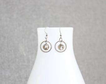 bijoux mode, Boucle d'oreille, bijoux fantaisie, gris, grey, earrings, stainlees steel, acier inoxydable, minimaliste, anneau argent, verre