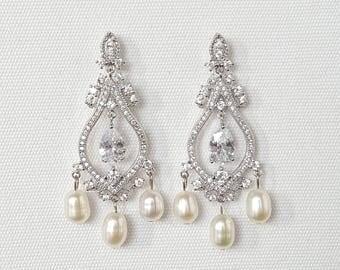 Cubic Zirconia Wedding Earrings, Pearl Bridal Earrings, Chandelier Bridal Earrings, Brides Earrings, Wedding Jewelry