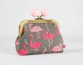 Metal frame coin purse with color bobble - Party flamingo on grey - Color dad / Japanese fabric / Pink flamingo / Green party hats