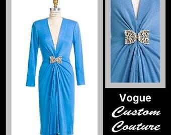 COUTURE EVENING DRESS-Vogue Sewing Pattern-Deep V Neckline-Drapery Detail-Custom Fit-Couture Construction Secrets-Uncut-Size 8-14-Rare