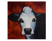 Small 12x12 Cow Painting Bach IV,Canvas Original Painting by Cheri Wollenberg