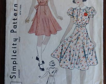 Simplicity 2669 1930s Girls Dress and Bolero Size 8